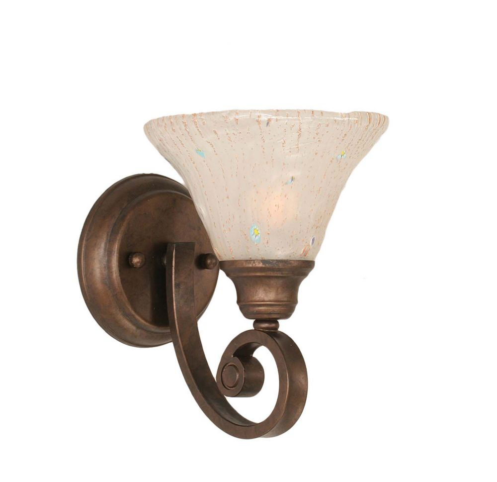 Concord 1-Light Wall Bronze Wall Sconce with a Frosted Crystal Glass