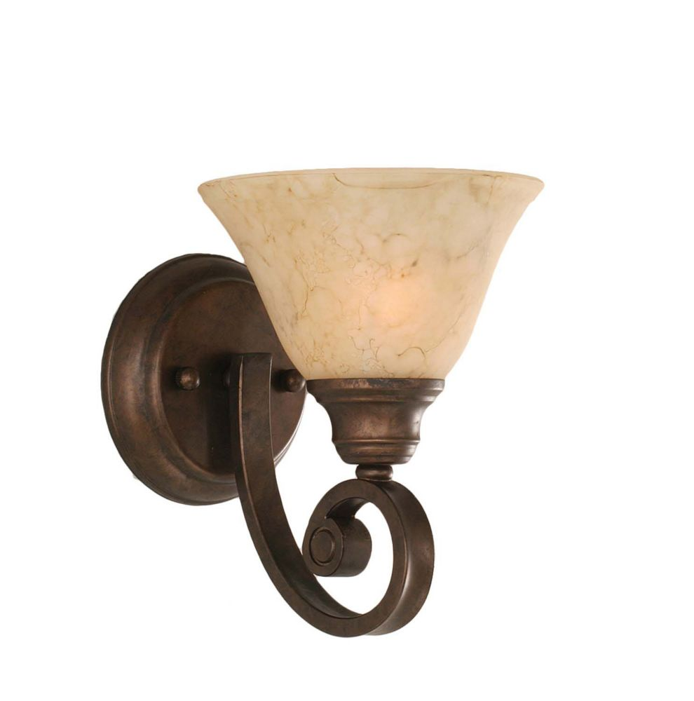 Concord 1-Light Wall Bronze Wall Sconce with an Italian Marble Glass