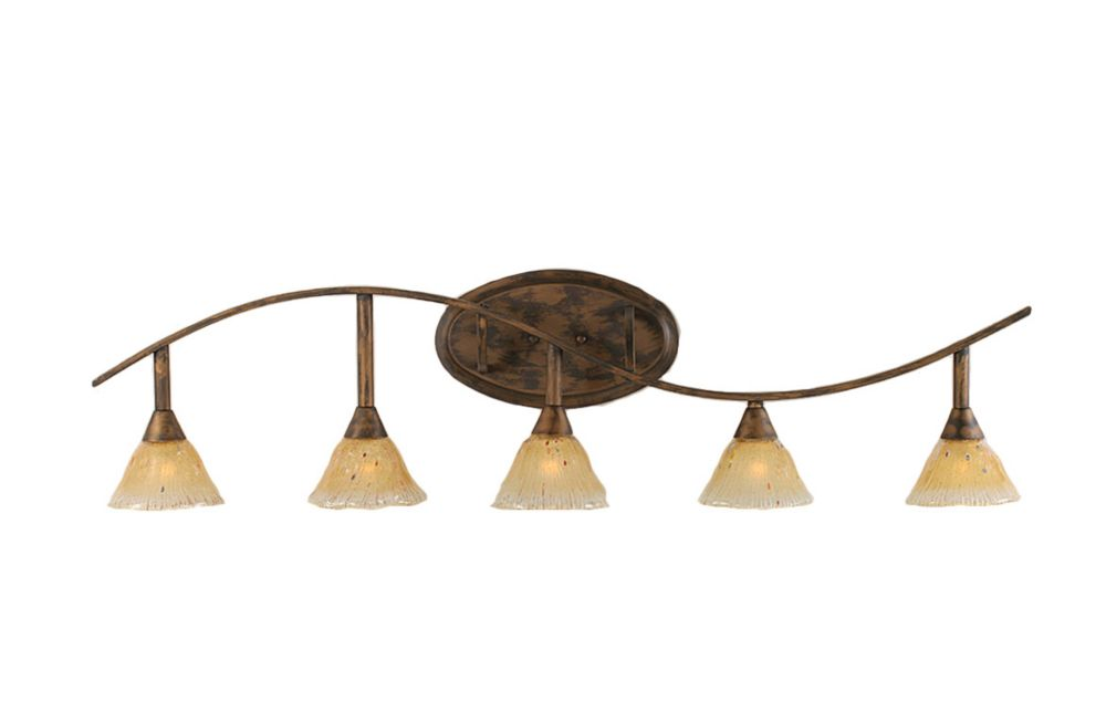 Concord 5 Light Wall Bronze Incandescent Bath Vanities with an Amber Glass