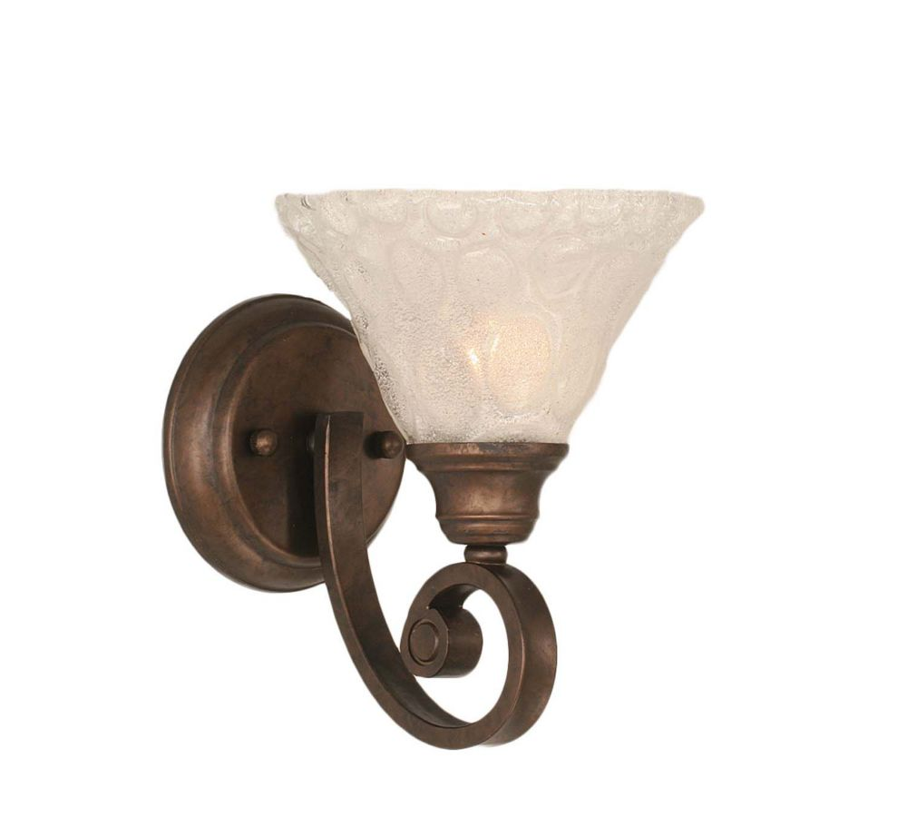 Concord 1-Light Wall Bronze Wall Sconce with a Clear Crystal Glass