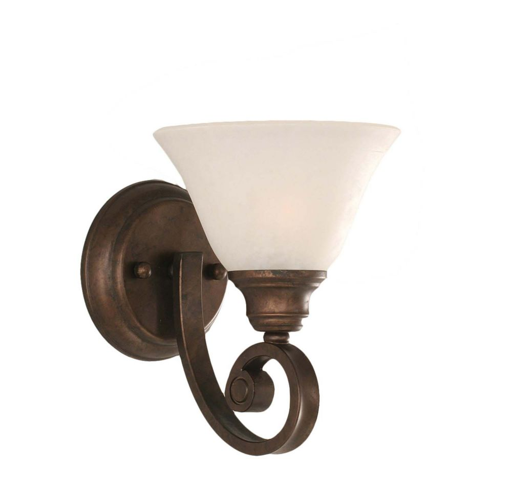 Concord 1-Light Wall Bronze Wall Sconce with a White Marble Glass