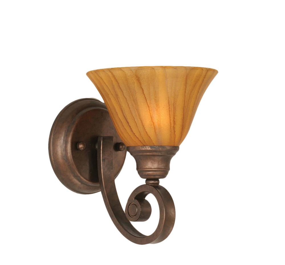 Concord 1-Light Wall Bronze Wall Sconce with a Tiger Glass