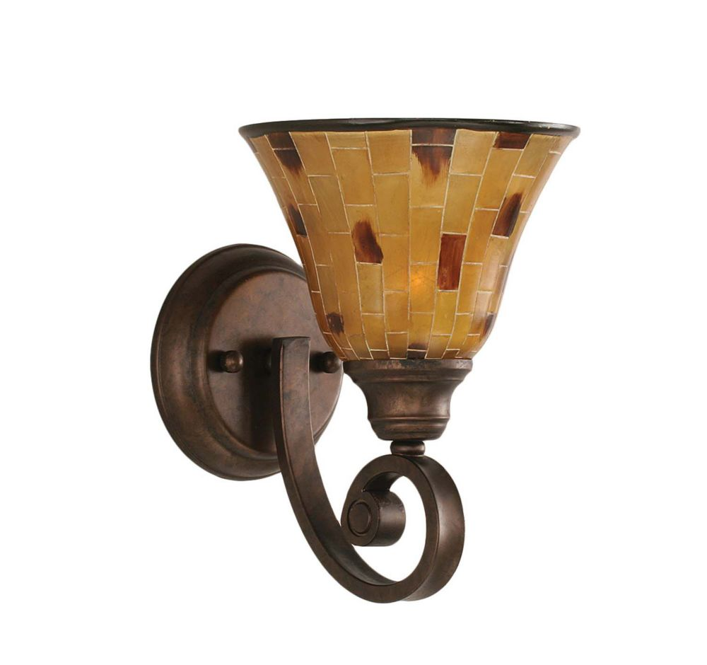 Concord 1-Light Wall Bronze Wall Sconce with a Penshell Resin Glass