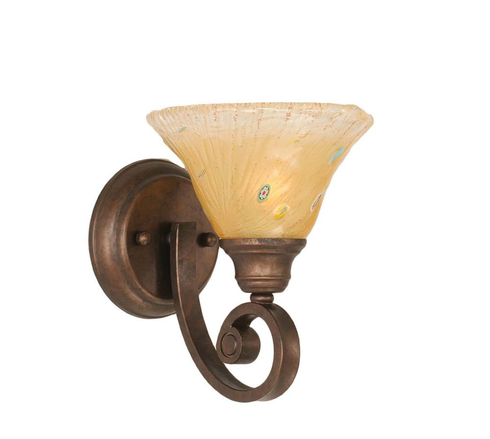 Concord 1 Light Wall Bronze Incandescent Wall Sconce with an Amber Glass