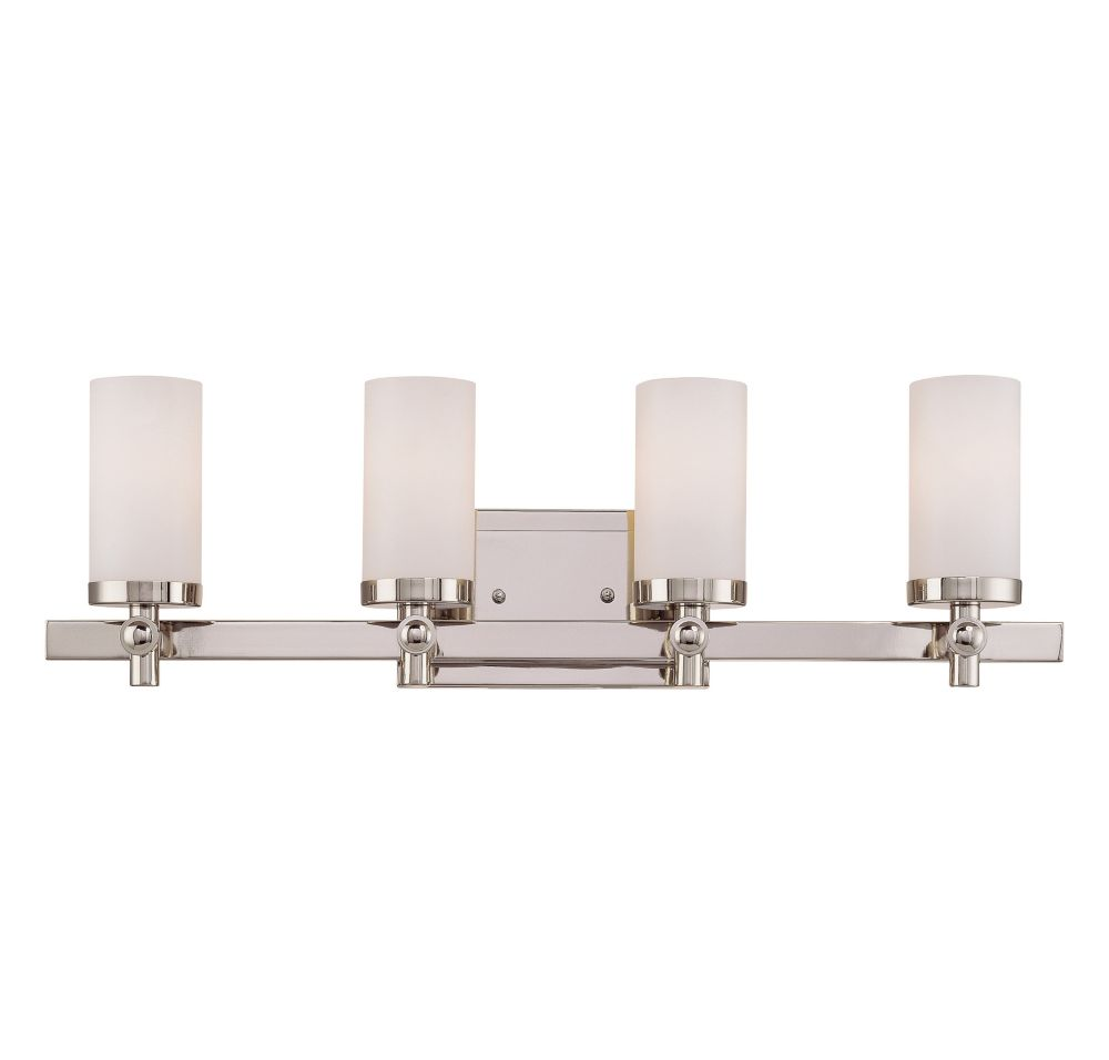 Satin 4-Light Nickel Bath Bar with White Glass