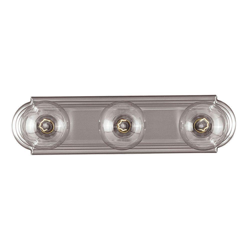 Satin 3 Light Nickel Fluorescent Bath Bar
