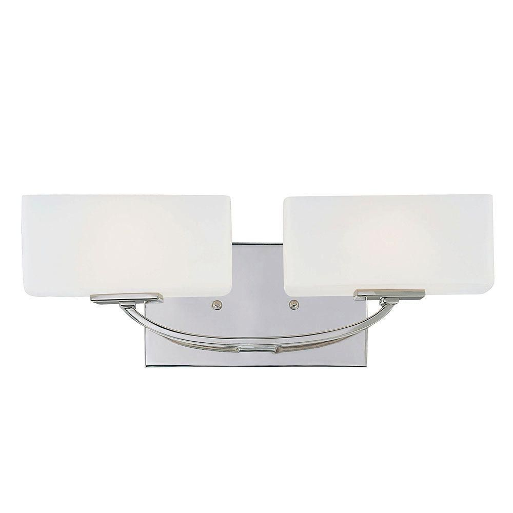 Satin 2 Light Nickel Fluorescent Bath Bar With White Glass