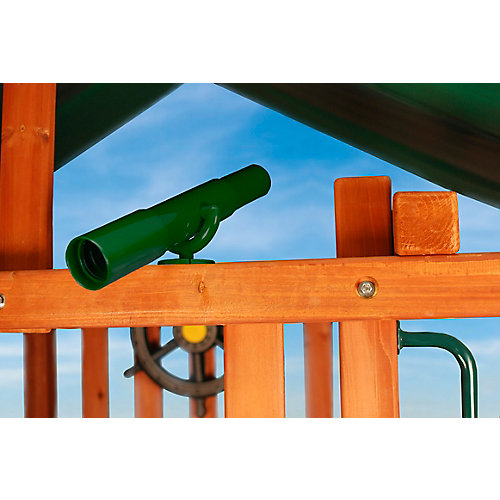 Télescope-jouet vert avec support de fixation