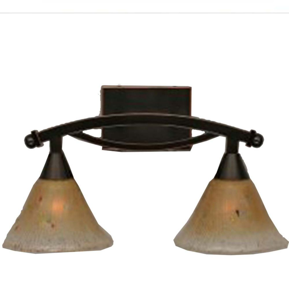 Concord 2 Light Wall Black Copper Incandescent Bath Vanities with an Amber Glass