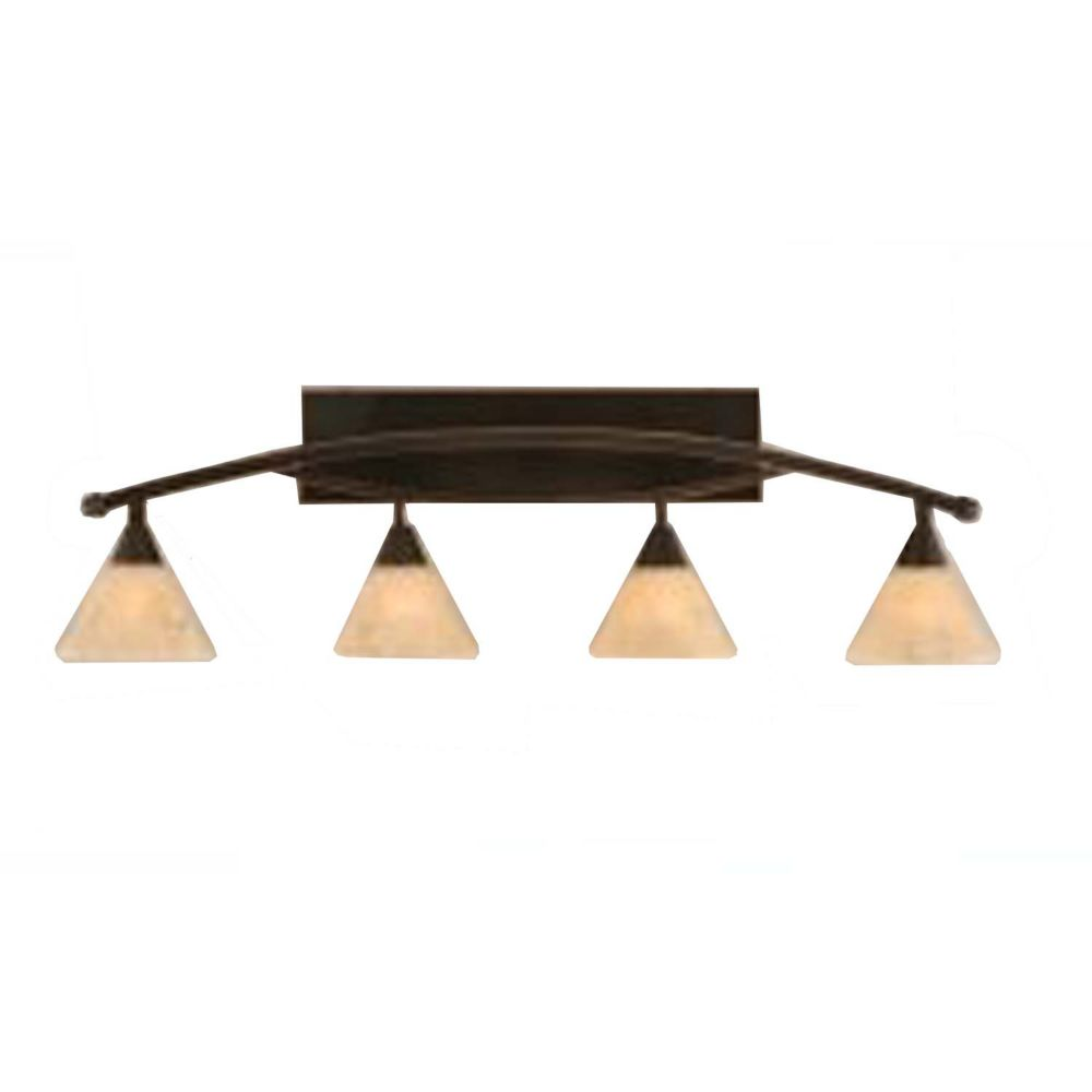Concord 4 Light Wall Black Copper Incandescent Bath Vanities with an Italian Marble Glass