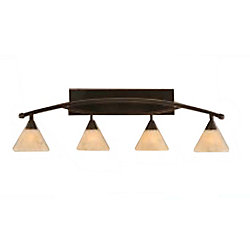 Filament Design Concord 4-Light Wall Black Copper Bath Vanities with an Italian Marble Glass