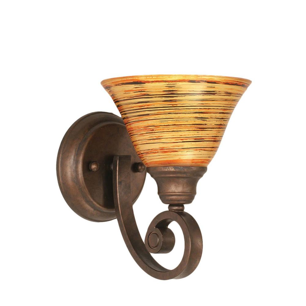 Concord 1 Light Wall Bronze Incandescent Wall Sconce with a Firré Saturn Glass