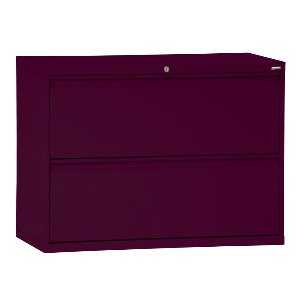 800 Series 2 Drawer Lateral File Burgundy Color
