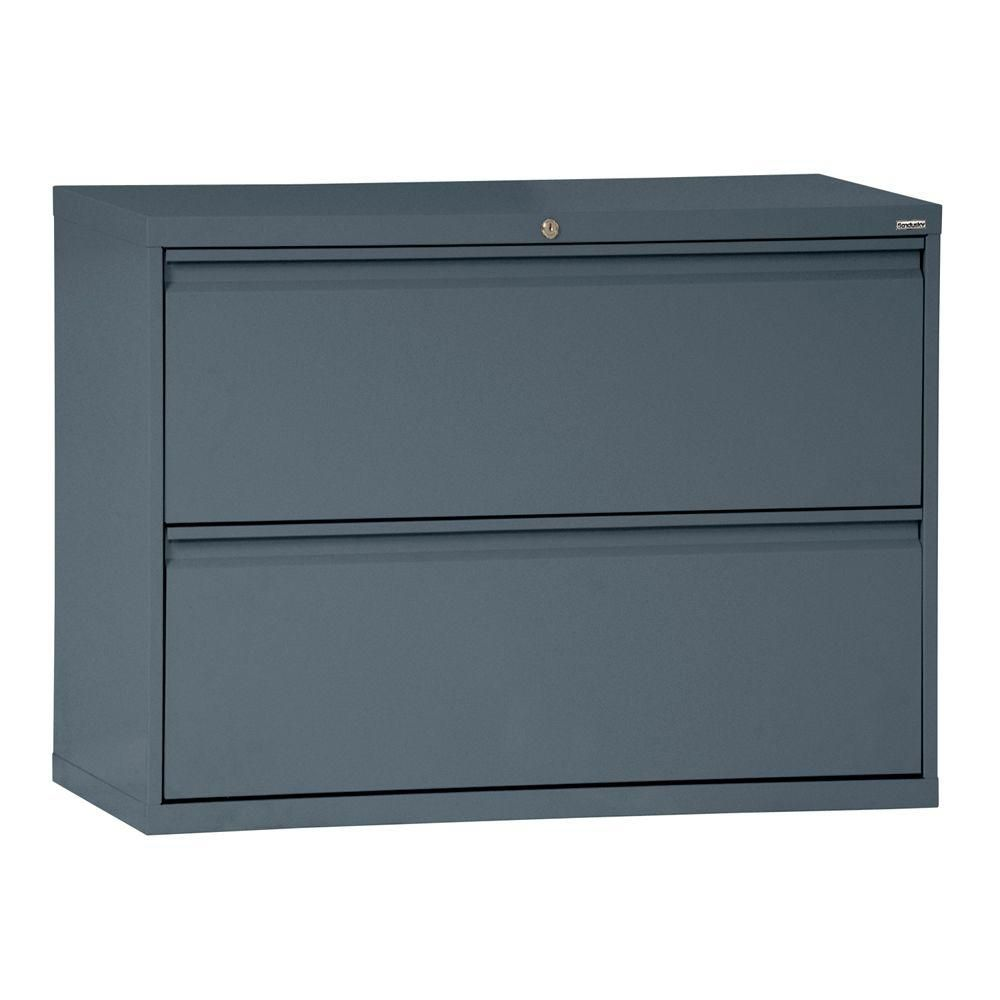 800 Series 2 Drawer Lateral File Charcoal Color