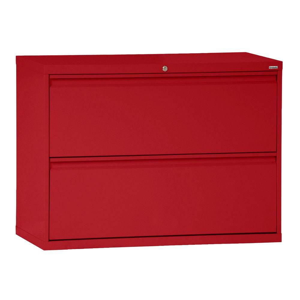 800 Series 2 Drawer Lateral File Red Color