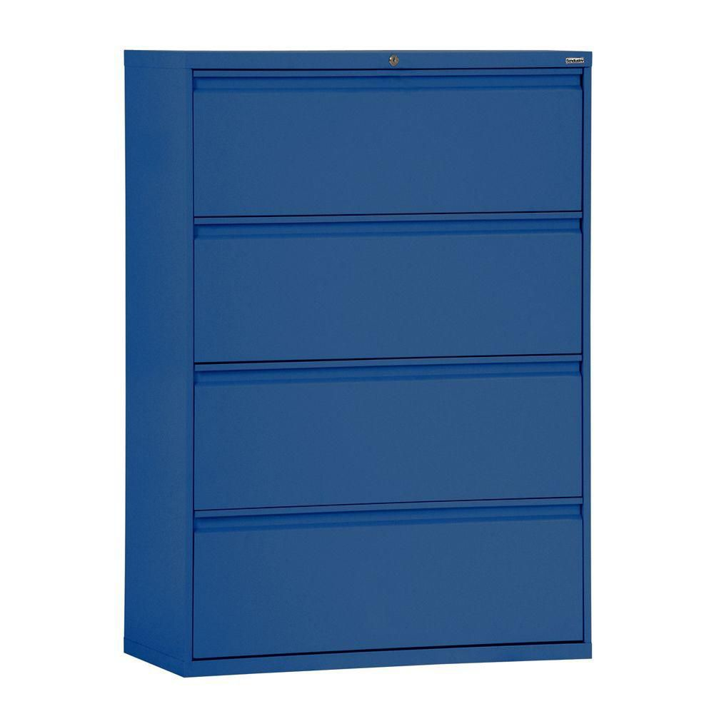 800 Series 4 Drawer Lateral File Blue Color