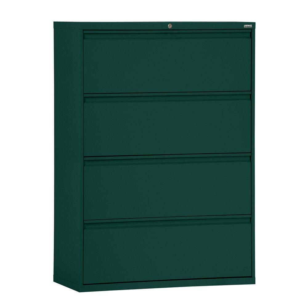 800 Series 4 Drawer Lateral File Forest Green LF8F364-08 Canada Discount