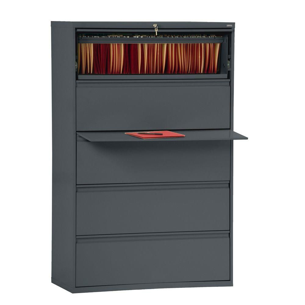 800 Series 5 Drawer Lateral File Charcoal Color