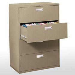 Sandusky 600 Series 36-inch x 53.25-inch x 19.25-inch 4-Drawer Metal Filing Cabinet in Beige