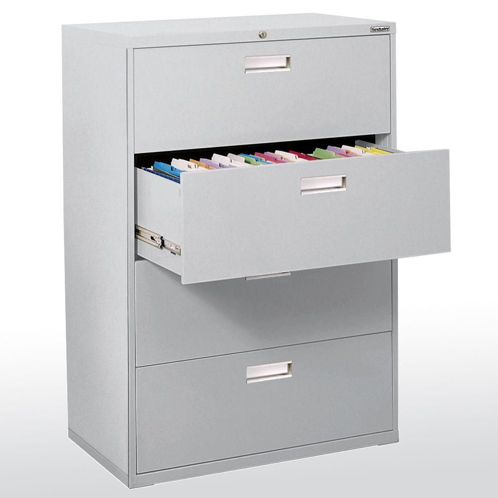 600 Series 4 Drawer Lateral File Dove Gray Color