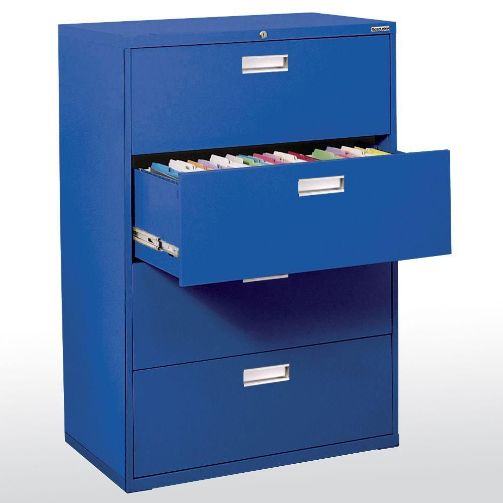 Sandusky 600 Series 36-inch x 53.25-inch x 19.25-inch 4-Drawer Metal Filing Cabinet in Blue