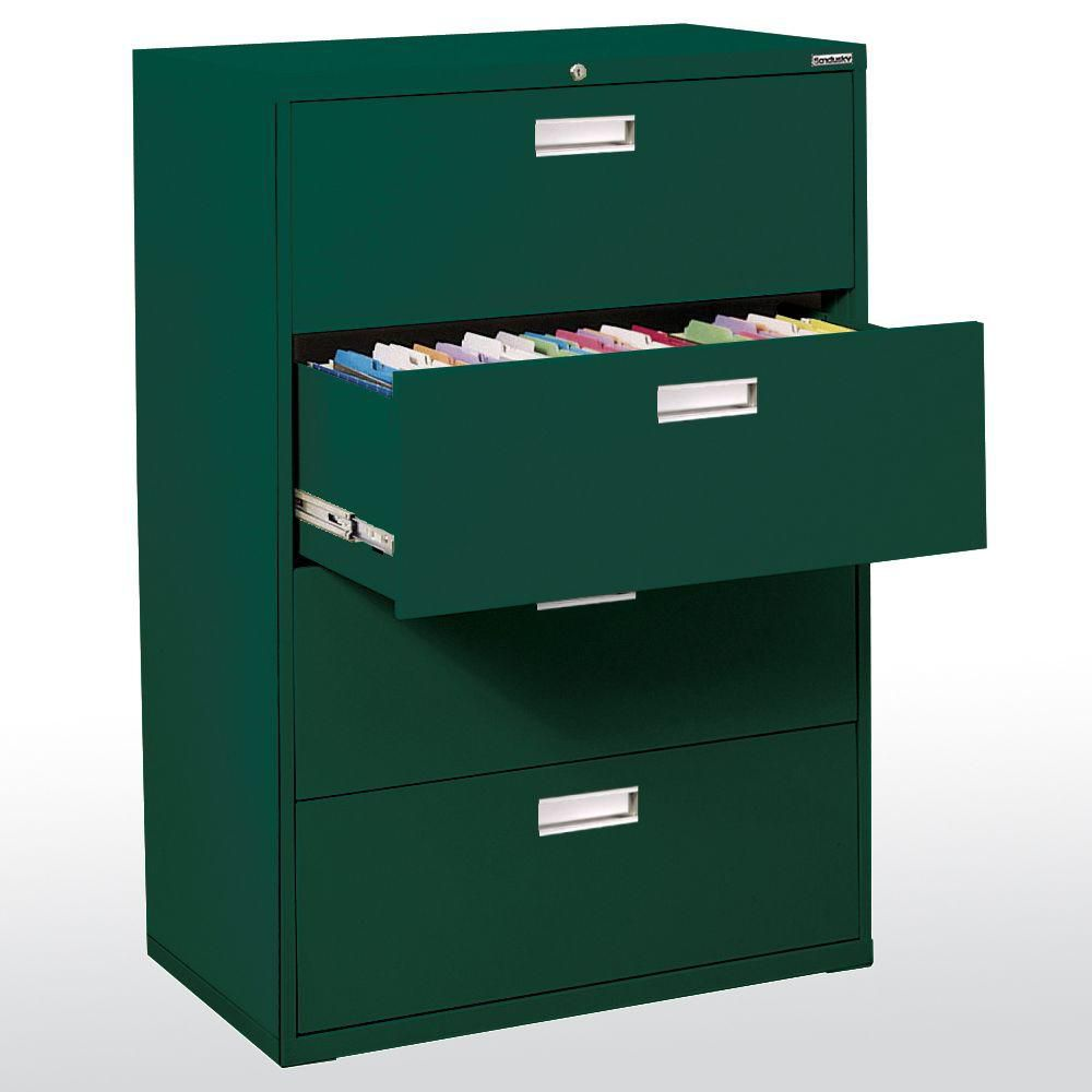 600 Series 4 Drawer Lateral File Forest Green Color
