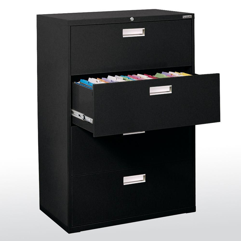 600 Series 4 Drawer Lateral File Black Color
