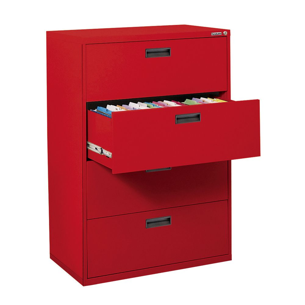 400 Series 4 Drawer Lateral File Red Color E204L-01 Canada Discount