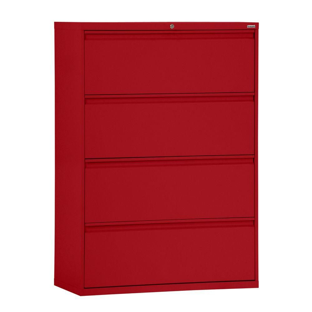 800 Series 4 Drawer Lateral File Red Color