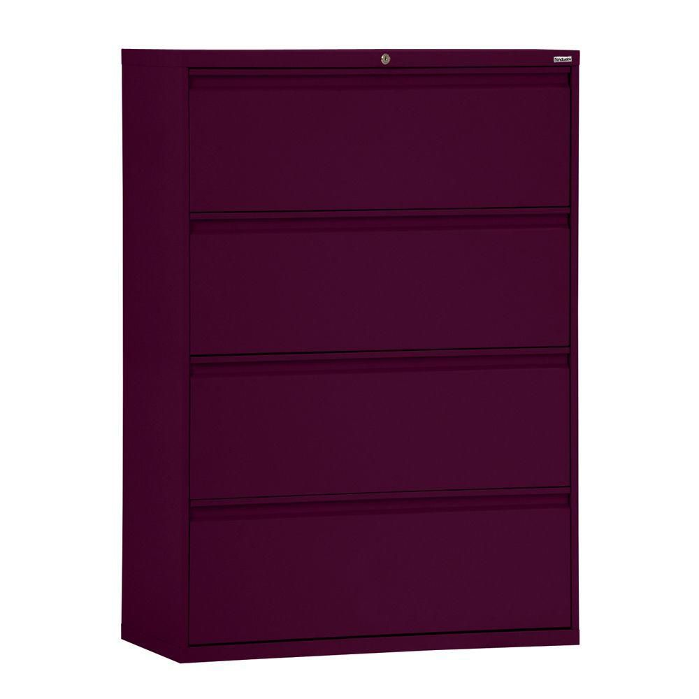 800 Series 4 Drawer Lateral File Burgundy Color