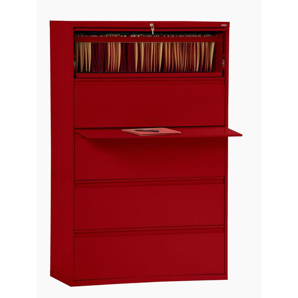 800 Series 5 Drawer Lateral File Red Color