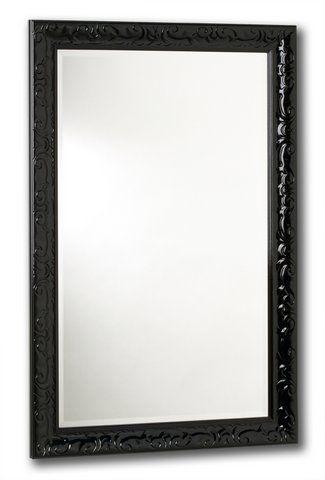 Miroir Razzle Dazzle, Noir laqué, 18 po x 30 po.