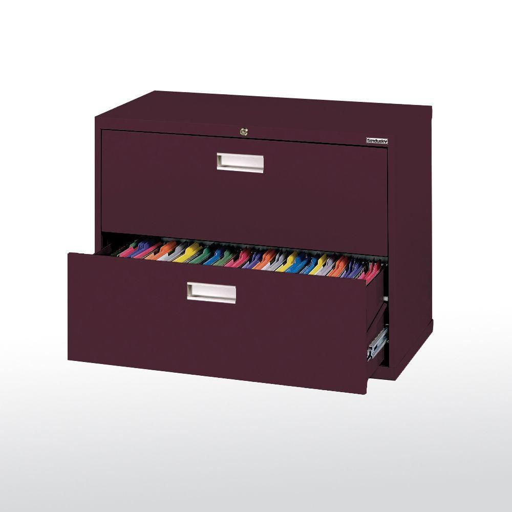 600 Series 2 Drawer Lateral File Burgundy Color