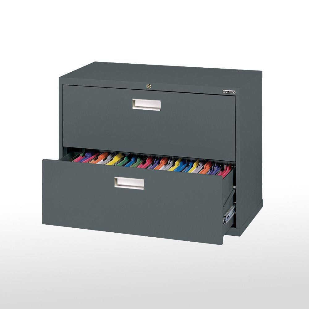 600 Series 2 Drawer Lateral File Charcoal Color