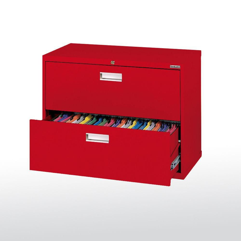 600 Series 2 Drawer Lateral File Red Color