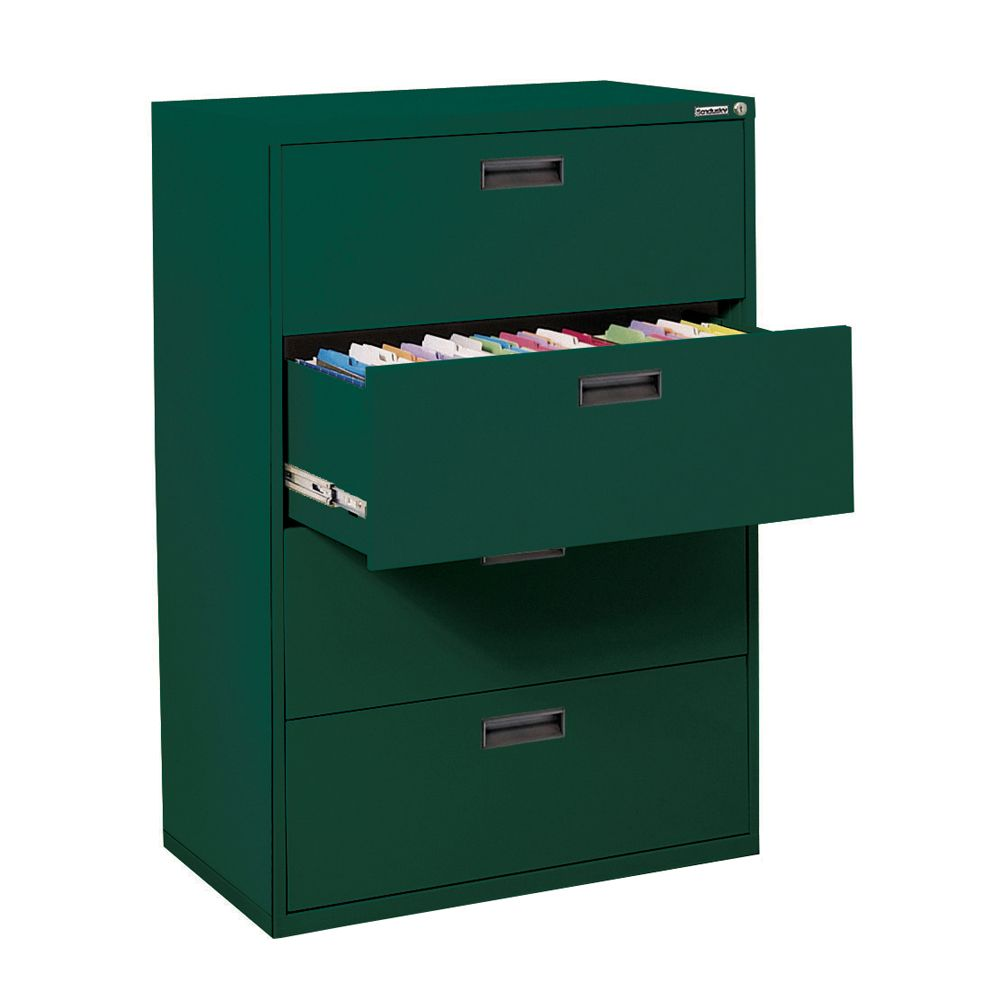Sandusky 400 Series 30-inch x 50.25-inch x 18-inch 4-Drawer Metal Filing Cabinet in Green