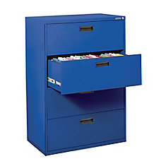 400 Series 30-inch x 50.25-inch x 18-inch 4-Drawer Metal Filing Cabinet in Blue