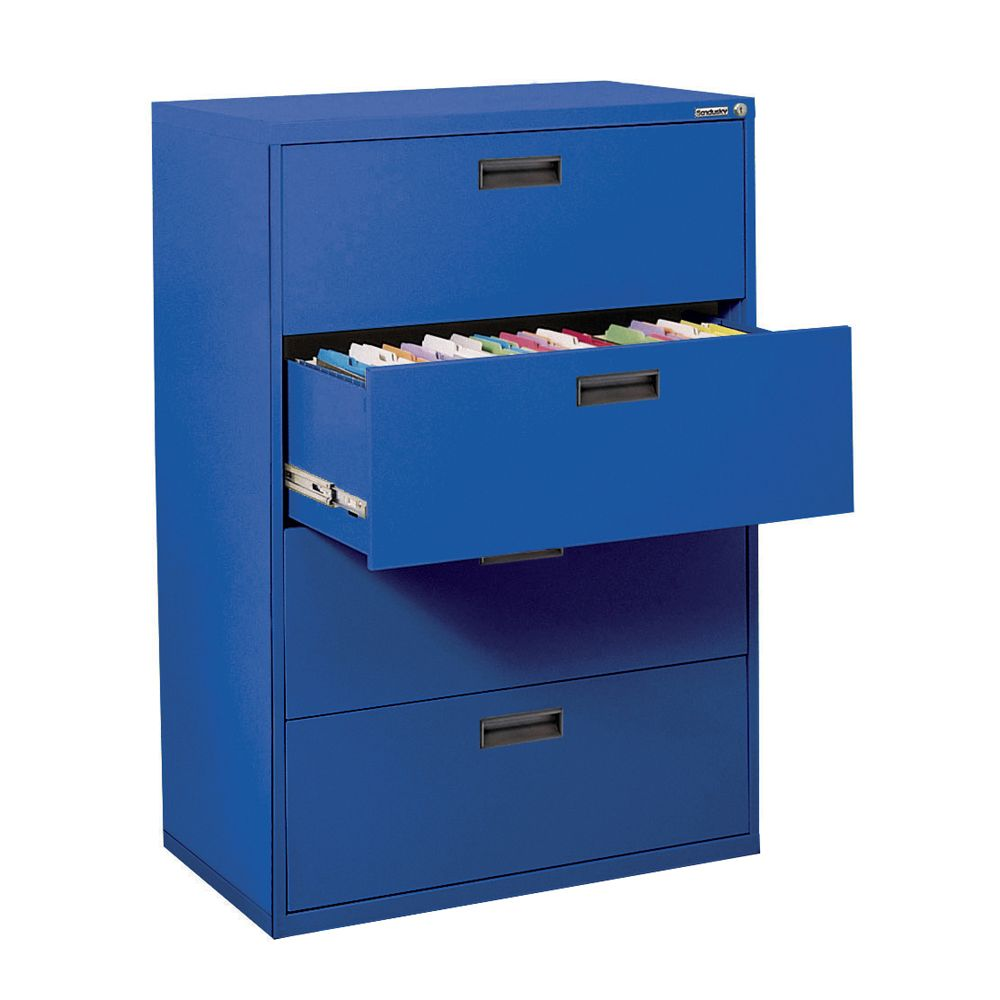 400 Series 4 Drawer Lateral File Blue Color