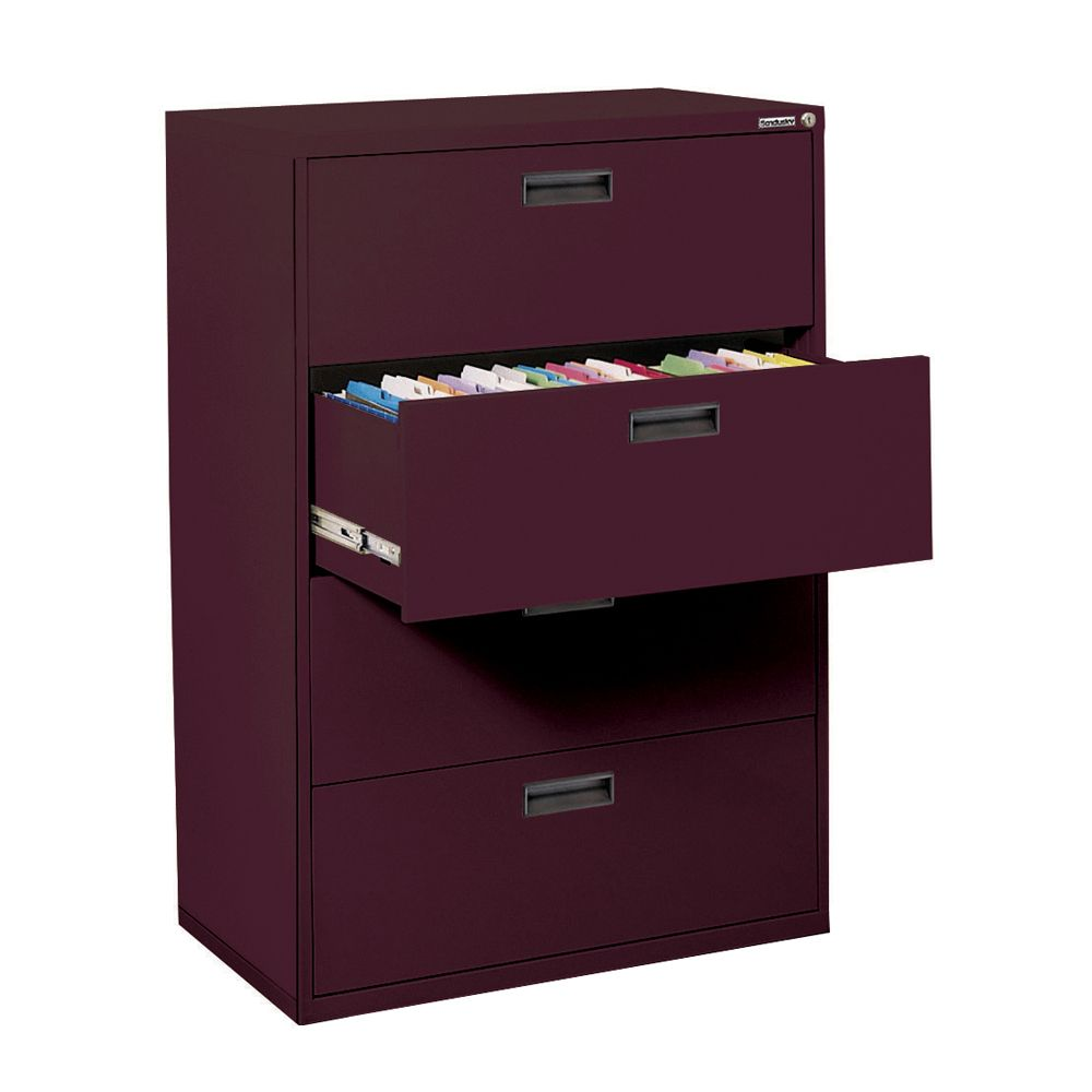 400 Series 4 Drawer Lateral File Burgundy Color