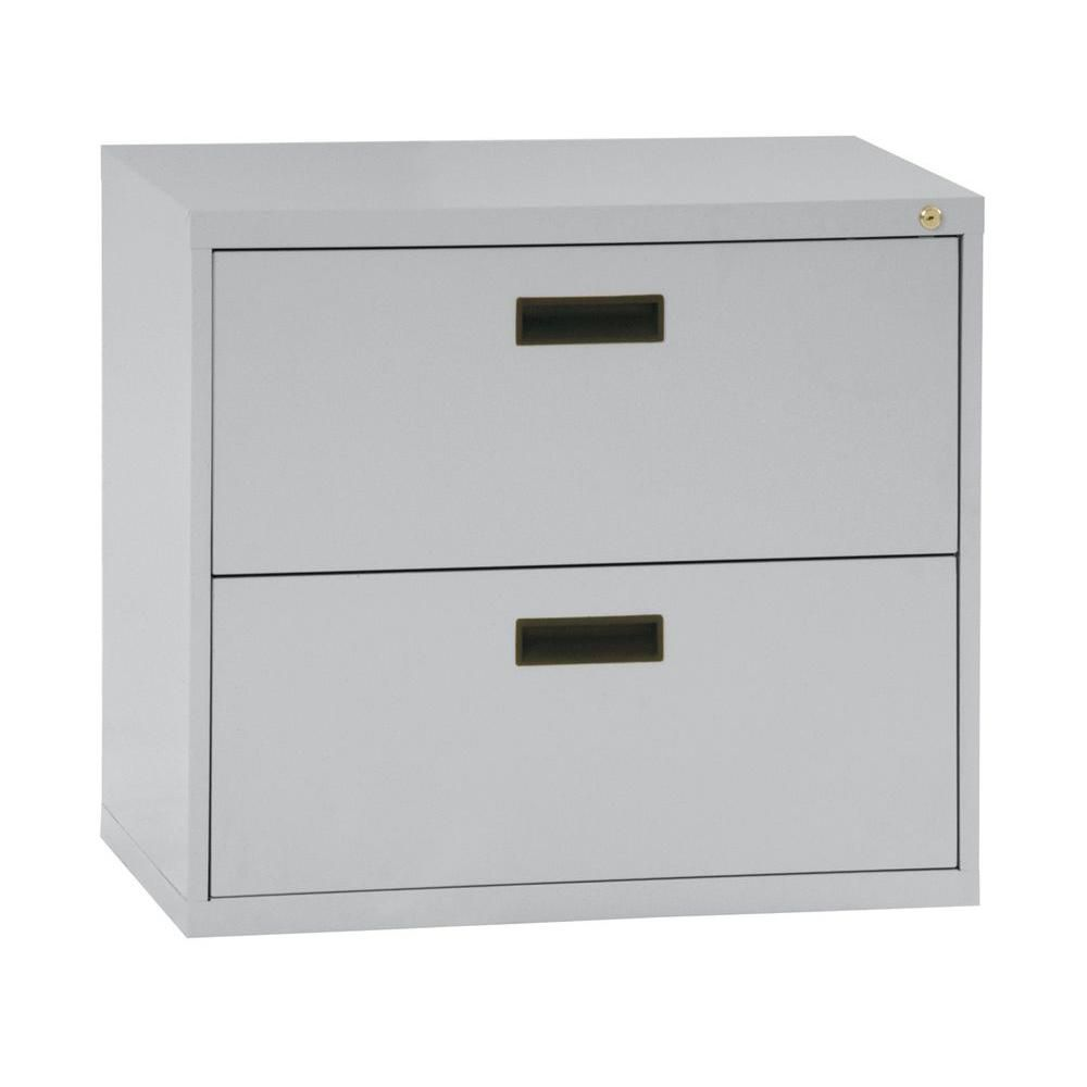 Sandusky 400 Series 30-inch x 27.63-inch x 18-inch 2-Drawer Metal Filing Cabinet in Grey