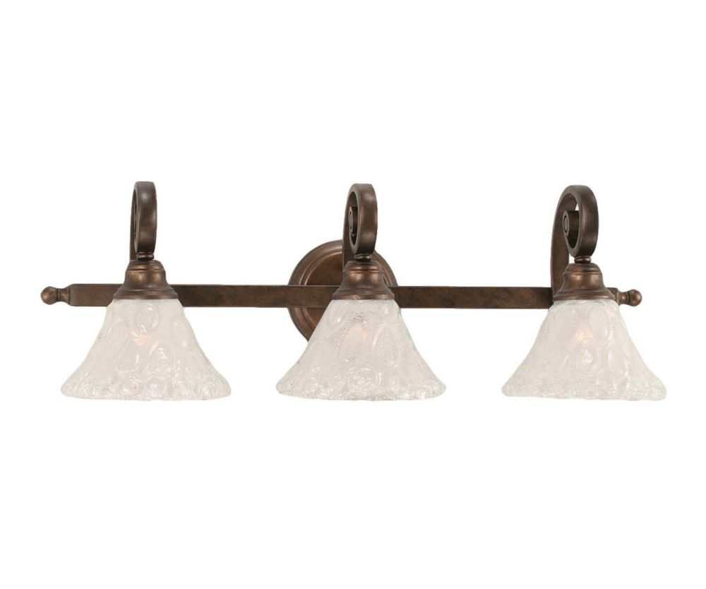 Concord 3 Light Wall Bronze Incandescent Bath Vanities with a Clear Crystal Glass
