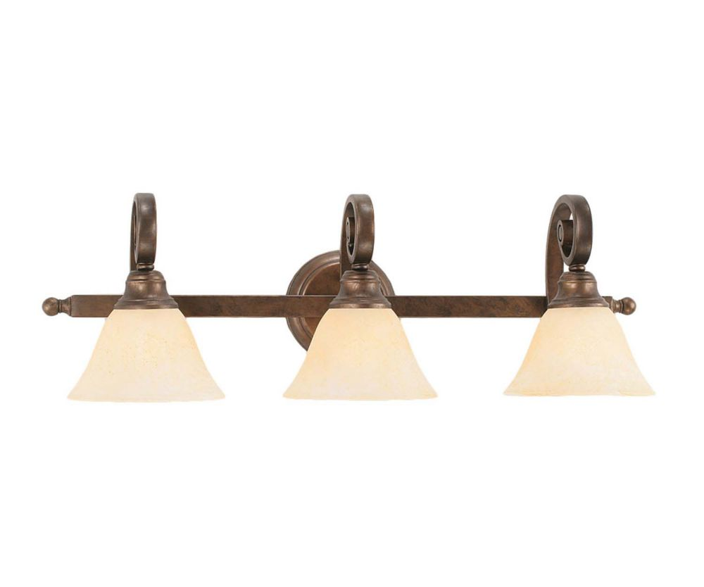 Concord 3-Light Wall Bronze Bath Vanities with an Amber Glass