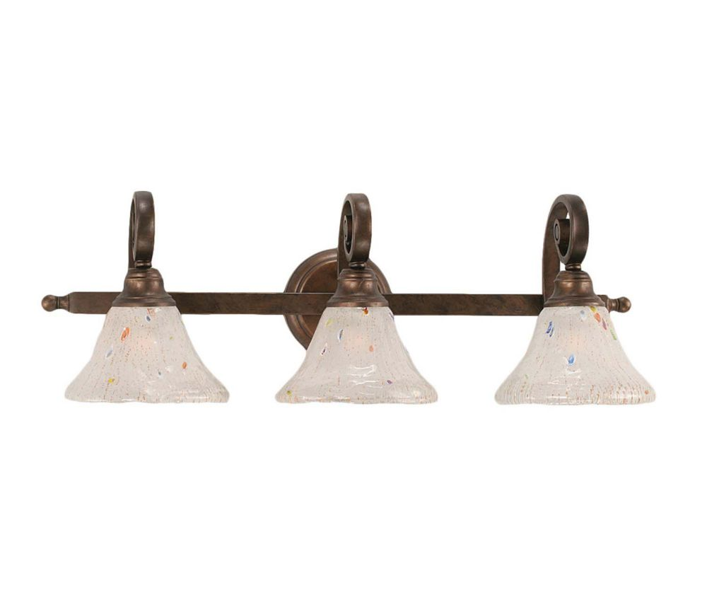 Concord 3 Light Wall Bronze Incandescent Bath Vanities with a Frosted Crystal Glass