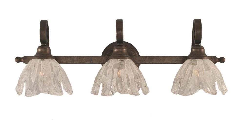Concord 3-Light Wall Bronze Bath Vanities with a Clear Crystal Glass