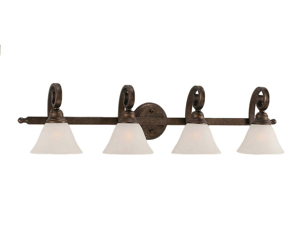Concord 4-Light Wall Bronze Bath Vanities with a White Marble Glass