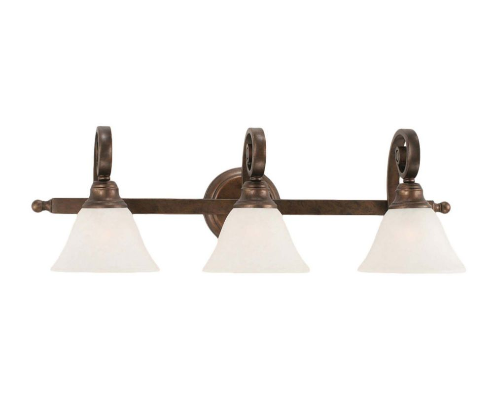 Concord 3-Light Wall Bronze Bath Vanities with a White Marble Glass