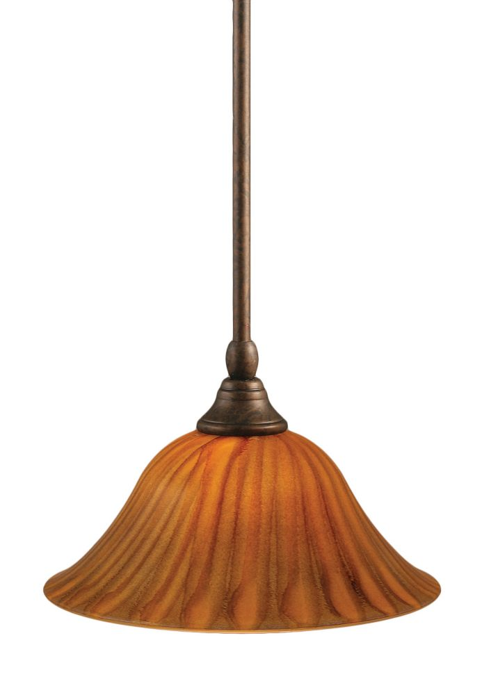 Concord 1-Light Ceiling Bronze Pendant with a Tiger Glass
