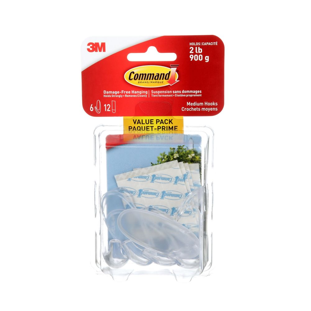Command Medium Clear Hooks with Clear Strips Value Pack 17091CLRC-VP Canada Discount