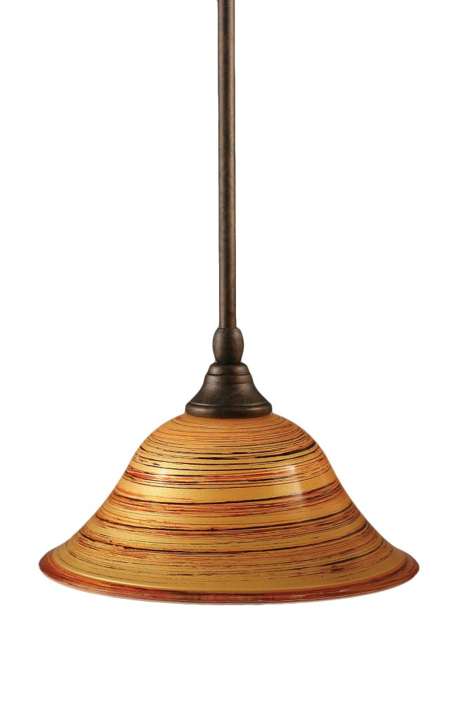 Concord 1-Light Ceiling Bronze Pendant with a Charcoal Spiral Glass