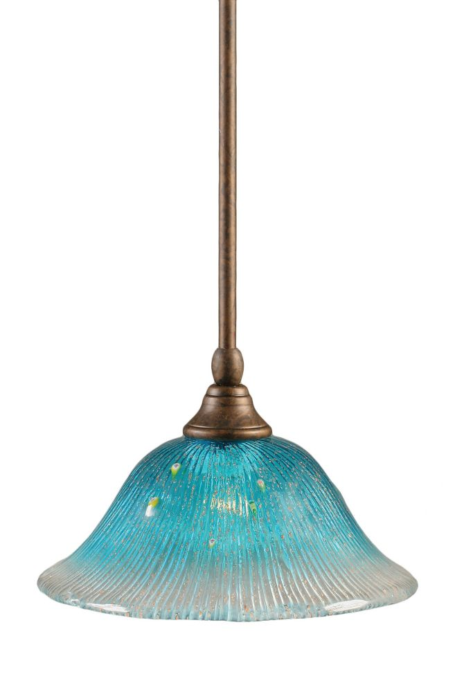 Concord 1-Light Ceiling Bronze Pendant with a Teal Crystal Glass